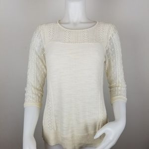 Knitted & Knotted Anthro M Cream Surrey Pullover